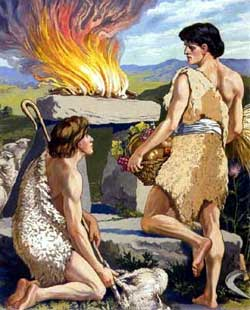 Cain and Abel bring their offerings to God.