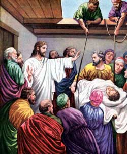 Down Through The Roof Jesus Heals A Paralytic Man